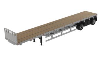 2axle 53ft. flatbet trailer, silver / wood